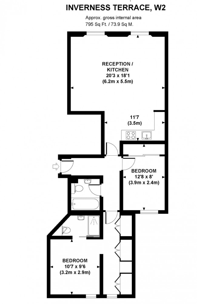 Inverness Terrace, Bayswater, W2 Floorplan 1