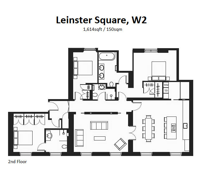 Leinster Square, Notting Hill, W2 Floorplan 1